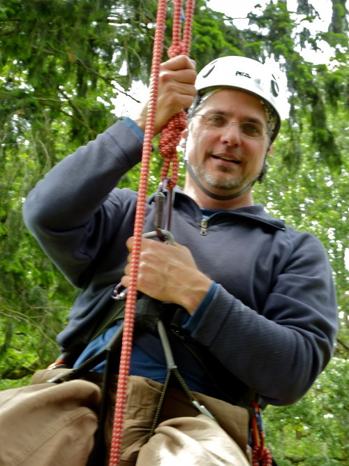 author Garth Stein, climbing with TCP